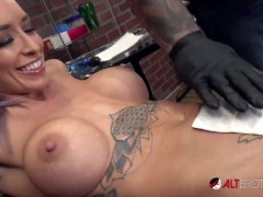 Vanessa Skye deepthroats a cock after getting tattooed